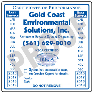 Lake Worth, FL - Reorder of vinyl hood stickers for Gold Coast Environmental Solutions Inc.