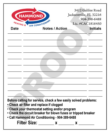 Jacksonville, FL - Fulfilled an order of 1000 Full Color HVAC Indoor Note Stickers for Hammond Air Conditioning.