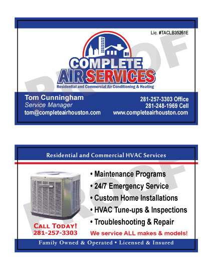 Real time service area for value printing spring tx fulfilled a reorder of custom hvac business cards with logo for complete air services have reheart Images