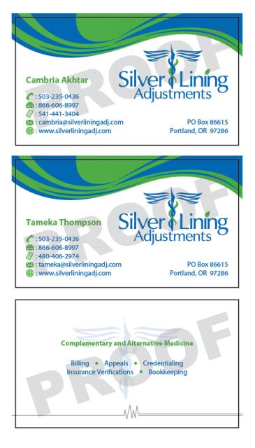 Portland, OR - Fulfilled an order of 2 sets of custom business cards for new customer, Silver Lining Adjustments. Design files were provided by Logo Design Team.