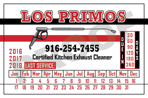Sacramento, CA - Fulfilled an order for Los Primos for 500 Hood Cleaning stickers.