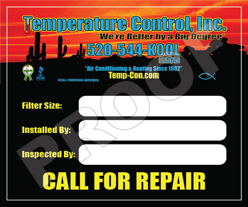 Tucson, AZ - Fulfilled a reorder of full color outdoor HVAC service stickers for Temperature Control, Inc with logo