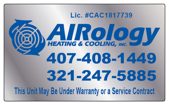 Gotha, FL - Completed order of hvac chrome stickers, hvac business cards, and hvac service invoices for Airology Heating & Cooling Inc with their logo. Call Value Printing for all of your hvac, hood cleaning, carpet cleaning and other contractor printing needs today!