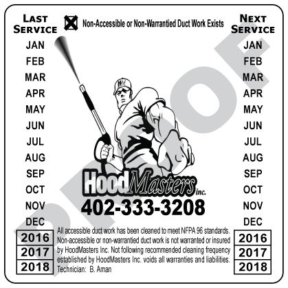 Omaha, NE - Fulfilled two orders for Hood Masters, Inc, a customer of ours since 2008. They requested two laminated vinyl Hood cleaning stickers with black ink, one with a checked box, the other without.