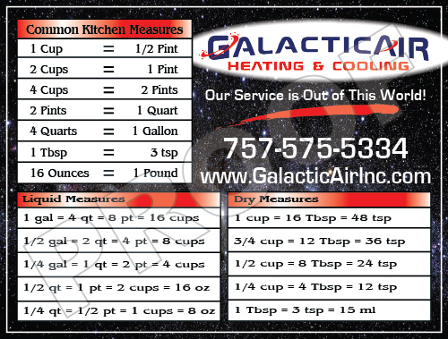 Virginia Beach, VA - Fulfilled an order of HVAC Kitchen Magnets for Galactic Air Inc.