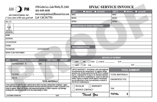Lake Worth, FL - Had an order of half sheet HVAC invoices for AM-PM Air Conditioning Inc with logo