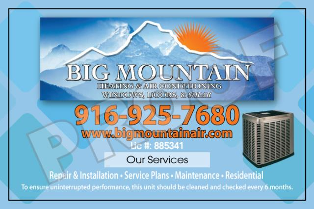 Sacramento, CA - Created hvac unit stickers for Big Mountain Heating & Air with logo and color customization
