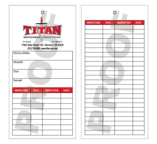 Harrison, OH - Titan Mechanical Solutions just ordered new custom hangtags.