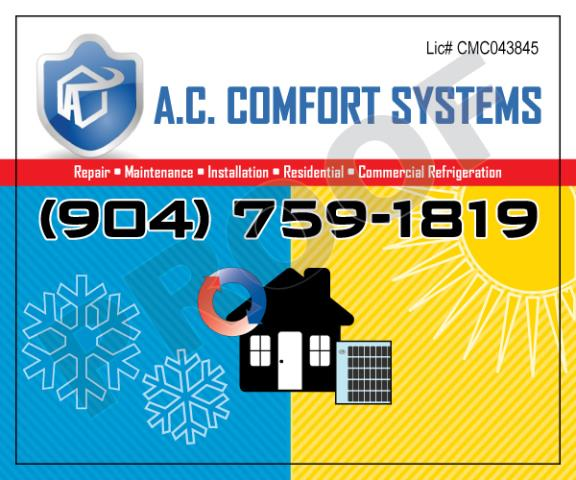 Jacksonville, FL - Completed an order of outdoor hvac stickers for A.C. Comfort Systems with logo