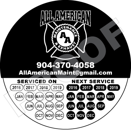 Jacksonville, FL - Printed vinyl hood cleaner stickers for All American Maintenance and Exhaust LLC with their logo. Let Value Printing take care of your hvac, hood cleaner, carpet & janitorial printing needs today!