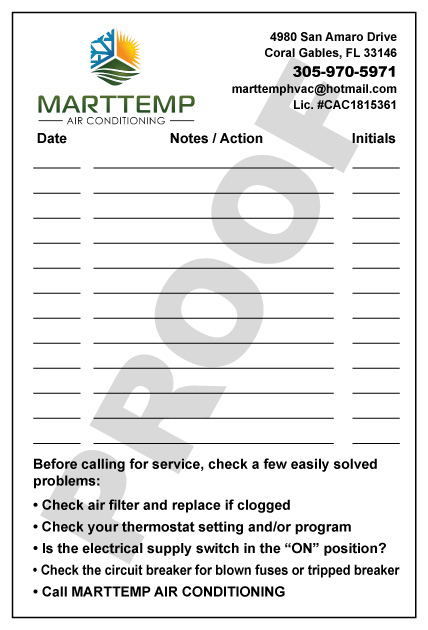 Miami, FL - Printed order of hvac note stickers for Marttemp Air Conditioning with color logo