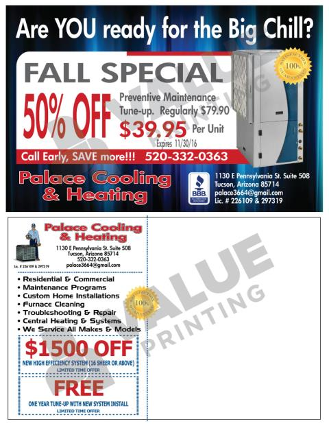 Tucson, AZ - Printed winter hvac postcards and hvac maintenance agreements for Palace Cooling & Heating