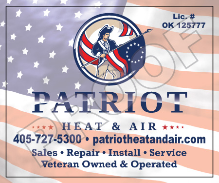 Mustang, OK - Printed reorder of Patriot Heat & Air's hvac invoices and their hvac unit stickers with logo