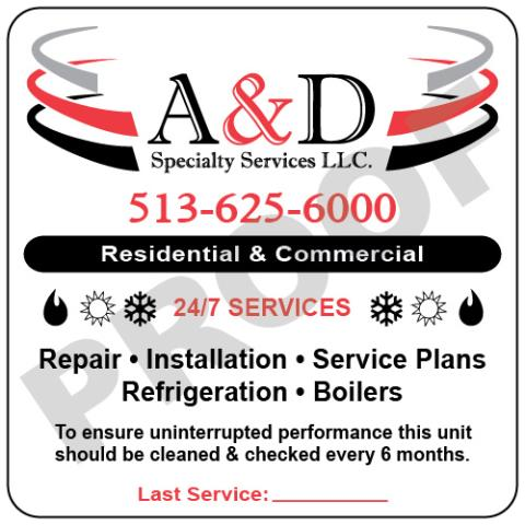 Milford, OH - Designed outdoor hvac unit stickers for A & D Specialty Services LLC with logo
