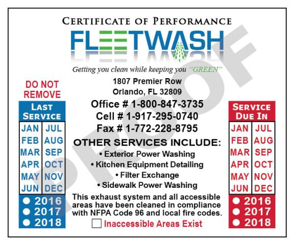 Orlando, FL - Designed Hood Cleaner Service Reports and Hood Stickers for Fleetwash.