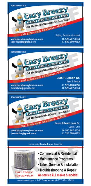 Tucson, AZ - Completed big print job for Eazy Breezy Heating and Cooling including HVAC Proposal Agreement Contracts, HVAC Service Invoice, and HVAC Service Order Invoices and HVAC Business Cards.