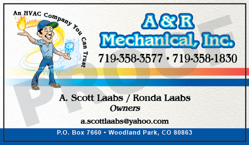 Woodland Park, CO - Designed HVAC Indoor Note Stickers and HVAC Business Cards shaped Magnets for A & R Mechanical, Inc.   Value Printing can meet all your HVAC Contractor printing needs at GREAT prices!