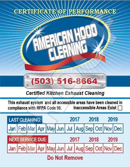 Portland, OR - Completed print reorder of Hood Stickers and designed new HOOD Invoices for long time customer,  Amercian Hood Cleaning.