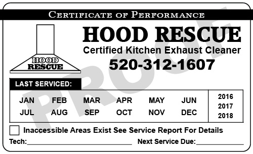 Sahuarita, AZ - Designed hood Cleaner Service Stickers, Hood Cleaner Proposals, and Hood Postcards for Hood Rescue.
