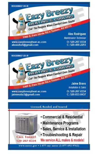 Tucson, AZ - Designed HVAC business cards for Eazy Breezy Heating and Cooling LLC.