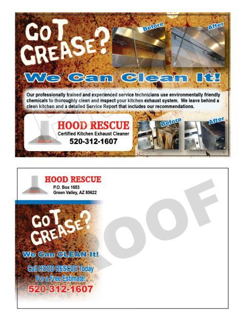 Sahuarita, AZ - Designed Hood Stickers, Hood Proposal forms, and Hood marketing Postcards for new customer, Hood Rescue.