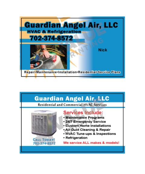 Las Vegas, NV - Designed HVAC business cards, Thermostate stickers, and HVAC Invoice forms for Guardian Angel Air.