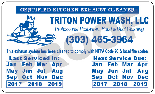 Broomfield, CO - Designed 1000 Hood Cleaner Service Stickers for Triton Power Wash, LLC.