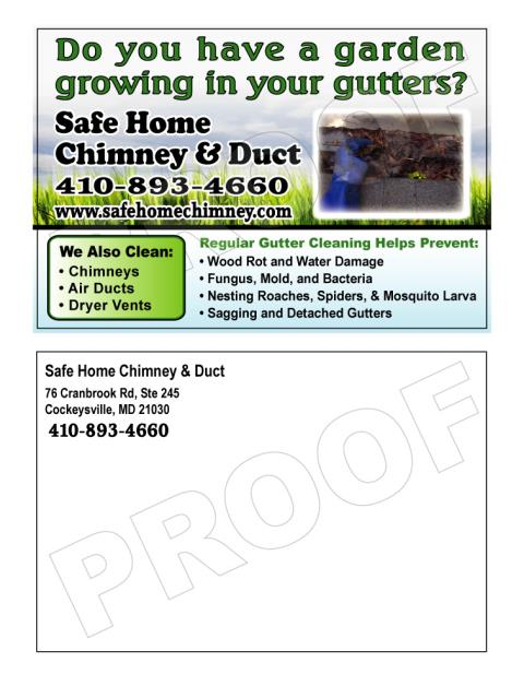 Sarasota, FL - Completed printing a reorder of Roofing Postcards for Safe Home Chimney & Duct.