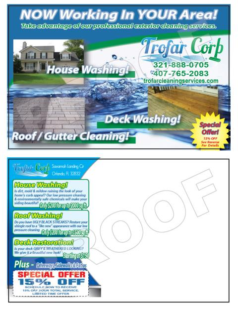 Orlando, FL - Created Hood/Pressure Washing Postcards for Trofar Corporation.