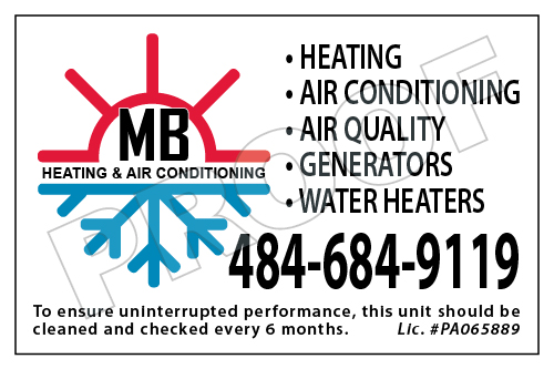 Norristown, PA - Created HVAC Stickers and custom Invoice forms for MB heating & Air Conditioning.