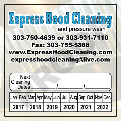 Denver, CO - Finsihed printing order of Hood Stickers for Express Hood Cleaning.  Value Printing is able to meet all your Hood Contractor printing needs.