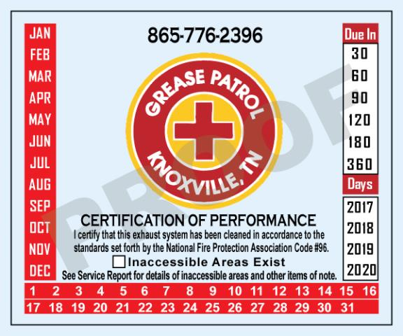 Knoxville, TN - Designed Hood Stickers with company logo for Grease Patrol.