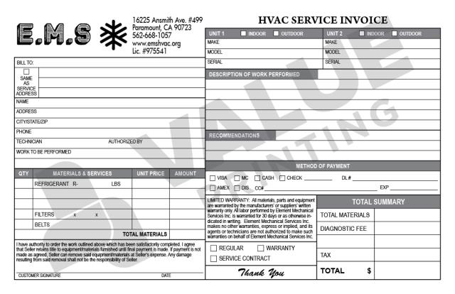 Paramount, CA - Designed two (2) HVAC half-sheet forms for Elemtn Mechanical, Invoice forms and Proposal forms.