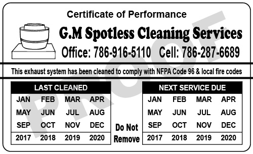 Miami, FL - Created Hood Cleaner Service Stickers with UV Coating for G.M. Spotless Cleaning Services