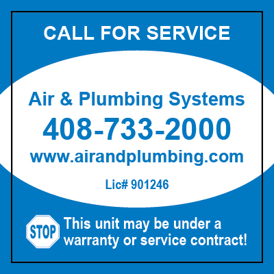Los Gatos, CA - Created HVAC Stickers for Air & Plumbing Systems