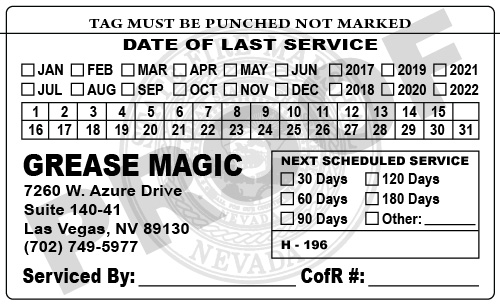 Las Vegas, NV - Completed a printing reorder of Hood Stickers for Grease Magic.