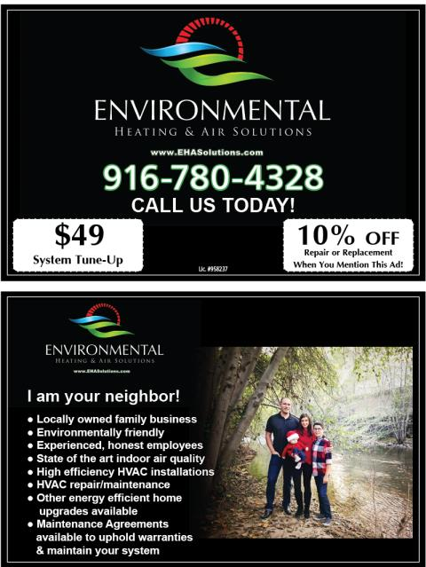 Roseville, CA - Created HVAC stickers and postcards for Environmental Heating & Air Solutions