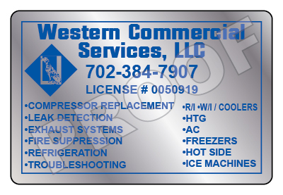 Las Vegas, NV - Created new Brushed Chrome HVAC Stickers for Western Commercial Services.