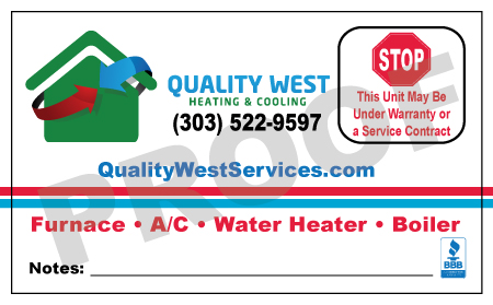 Littleton, CO - Completed a print order of HVAC Custom Stickers for Quality West Heating & Cooling with free editing.