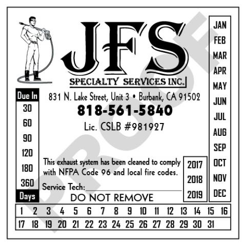 Burbank, CA - Designed new White Vinyl Hood Cleaner Service Stickers for JFS Specialtys