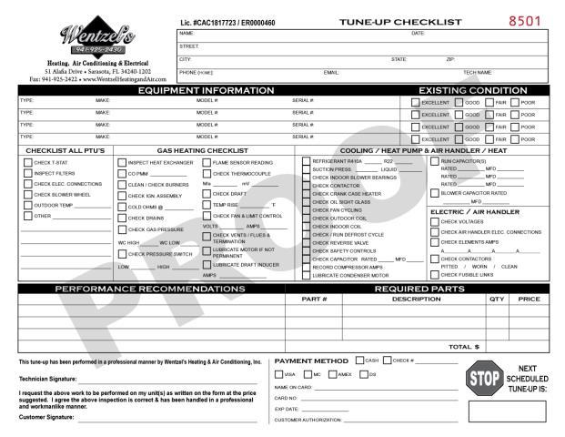 Sarasota, FL - Printd 2000 HVAC Tuneup Checklist forms for Wentzel's Heating.