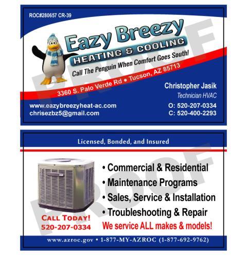 Tucson, AZ - Designed HVAC Busienss Cards for Eazy Breezy Heating
