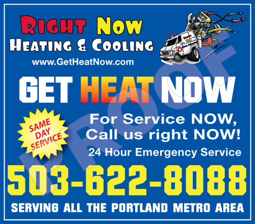 Clackamas, OR - Fulfilled reorder of HVAC Stickers for Right Now Home Services.