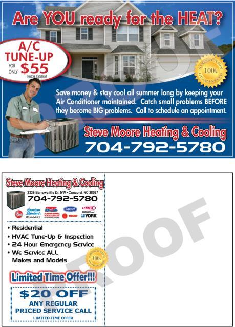 Concord, NC - Designed HVAC Invoice forms & HVAC Postcards for Steve Moore Heating & Cooling