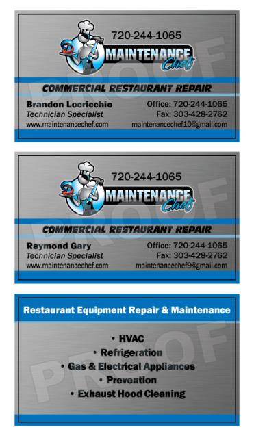 Westminster, CO - Completed a print reorder of business cards for HVAC Contractor, Maintenance Chef.