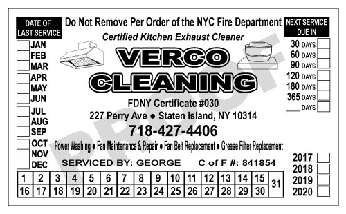 Staten Island, NY - Design Hood Cleaner SErvice Stickers & Hood Carbonless Proposal & Agreement Forms for Verco Cleaning, Inc.