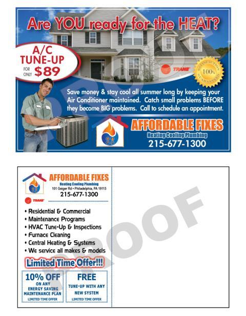 Philadelphia, PA - Created HVAC marketing postcards for Affordable Fixes