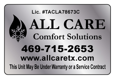 Rockwall, TX - Designed HVAC Brushed Chrome Stickers for All Care Comfort Solutions