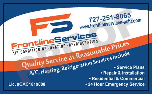 Largo, FL - Printed HVAC Carbonless Invoice & Proposal Forms plus designed HVAC Stickers for Frontline Services.