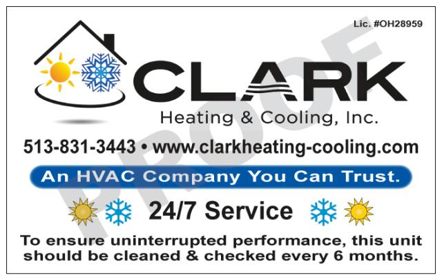 Milford, OH - Designed HVAC Vinyl Stickers for Clark Heating & Cooling, Inc.